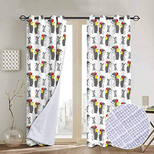 NUOMANAN Bedroom Curtains Apple,Funny Cartoon Hedgehog and Mouse Carrying Apples Happy and Playful Kids Design,Grey Red Yellow,Thermal Insulated Room Darkening Window Shade 84