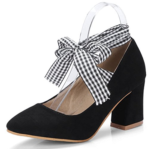 Pumps Chunky Heel Shoes Black Toe Women's Up Party Mid Pointed Work DecoStain Bowtie Lace zF61q8