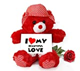TiedRibbons® Valentine's Day Gifts for Girlfriend Teddy Bear with Valentine's Special Greeting card and Red Rose