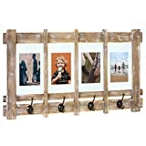 American Art Decor Rustic Wood Shelf Coat Rack with Picture Frames – Farmhouse Decor