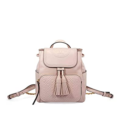 cb7ae99400c Amazon.com  Tory Burch Fleming Leather Backpack- Shell Pink  Shoes