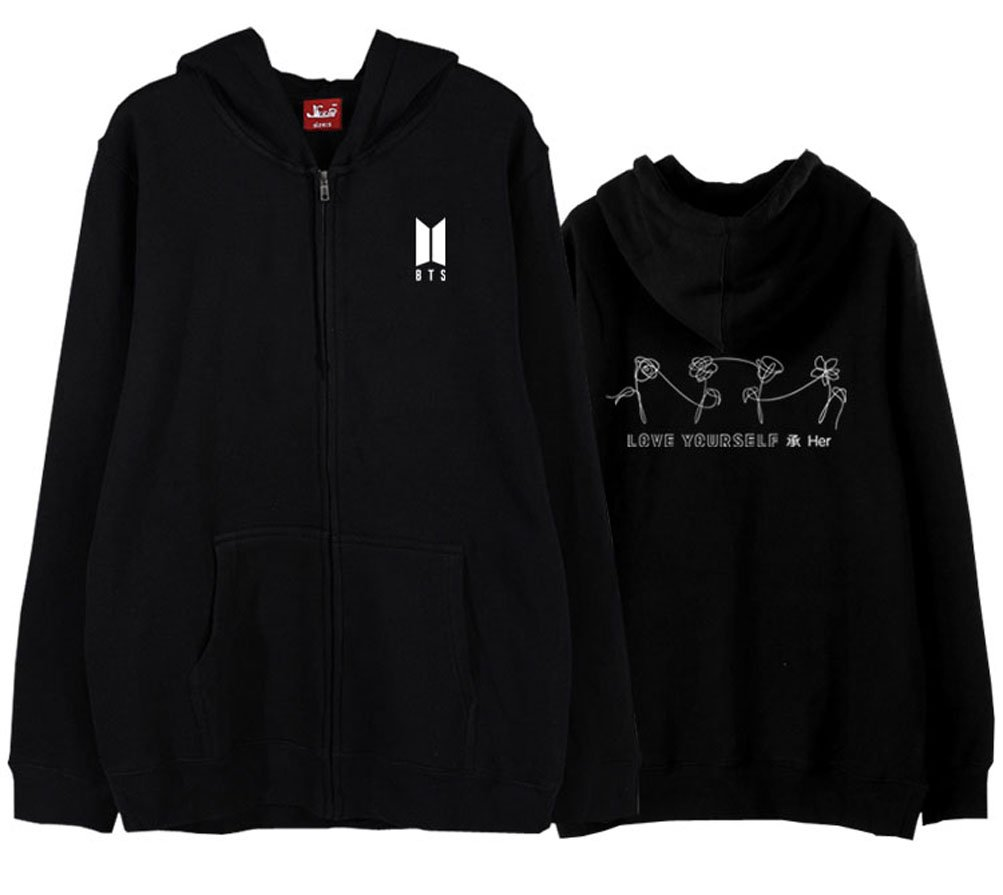 BTS Love Yourself Sports Sweatshirt Zipper Jacket (Black, XXXL)