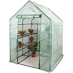 CO-Z Walk in Greenhouse with 2 Tier 8 Shelf Steeple, Portable Mini Green House with PE Cover, Waterproof Hot House UV Protected Walking Plant Green House, 4.7' L x 4.7' W x 6.4' H