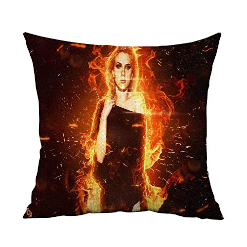 (Spring Throw Pillow Cushion Cover Scarlett Johansson Actress Women fire Hollywood red W15.8 x L15.8,Throw Pillows for Couch)