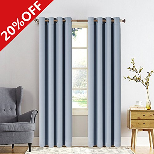 MEROUS Window Treatment Thermal Insulated Solid Grommet Blackout Curtains / Drapes for Bedroom (Set of 2 Panels,5295inch,light gray)