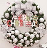 Christmas decorations Korean version 30/50/60/80cm Christmas wreath decorations Christmas inn shopping Mall window (60cm, Silver)