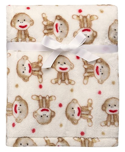 Baby Starters Sock Monkey and Dot Micro Velour Blanket, Ivory/Brown
