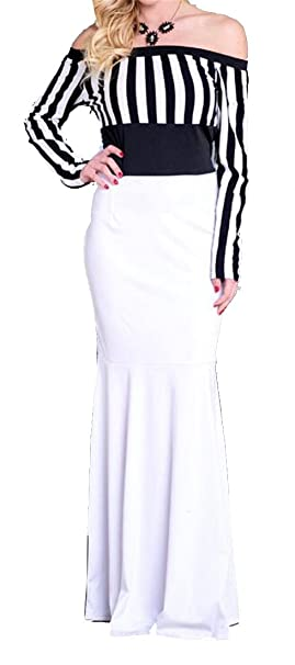 315fbd3615f ARTFFEL Women s Off Shoulder Stitching Color Blocked Long Sleeve Striped  Bodycon Cocktail Party Maxi Dress 1
