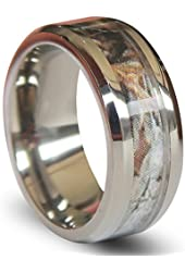 SALE!!! 8mm Titanium Hunting Rings Camo Inlay Beveled Edge Polished Wedding Band Promise Engagement Matching Rings for Couples Personalized Keepsake Rings
