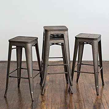 Buschman Metal Bar Stools 30 Bar Height, Indoor Outdoor and Stackable, Set of 4 Bronze with Wooden Seat