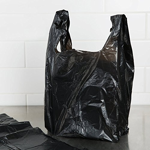 Grocery T-shirts Carry-out Bag Plain Black 12 X 6 X 21 (1000ct, Black) (Black T-shirt Bags)