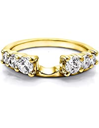 solitaire ring wrap enhancer set in yellow gold set with cz1ctsize 3 to 15 in 14 size interval - Wedding Ring Wrap