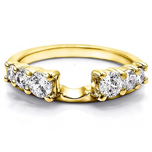 Diamond Double Shared Prong Six Stone Ring Wrap 14K Gold GH I2I3(1Ct)Size 3 To 15 in 1/4 Size Interval