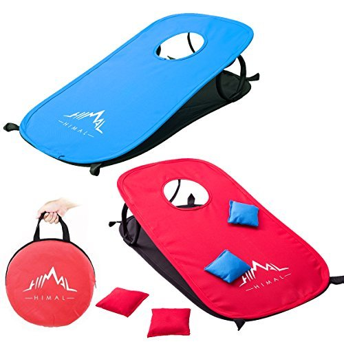 Himal Collapsible Portable Corn Hole Boards With 10 Cornhole Bean Bags And Tic Tac Toe Game 2 Games on 1 Board (2 x 1-feet) ()