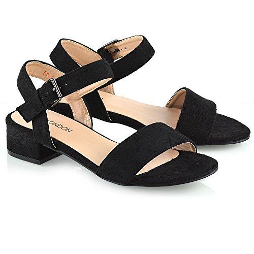 de tacón de mujer Faux Peeptoe ESSEX Sandalias Negro Zapatos bajo con Suede talla hebilla de Correas Mujer GLAM para tobillo 81gI7