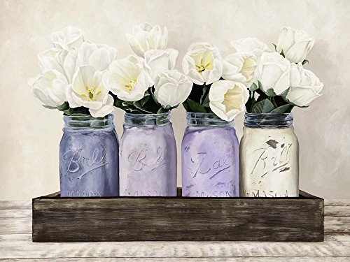 Tulips in Mason Jars by Jenny Thomlinson Art Print, 16 x 12 inches