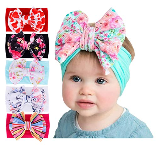 Baby Girl's Beautiful Headbands Newborn,Toddler and Kids Elastic Hairband for Photograph (Mixed 5 Color -