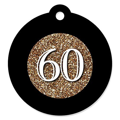 Adult 60th Birthday - Gold - Birthday Party Favor Gift Tags (Set of 20)