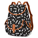 Vbiger Canvas Backpack for Women & Girls Boys Casual Book Bag Sports Daypack (Bird Black)