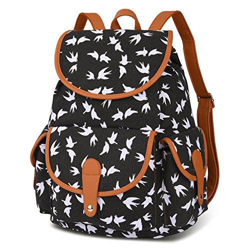 Vbiger Canvas Backpack for Women & Girls Boys Casual Book Bag Sports Daypack (Bird Black) by VBIGER