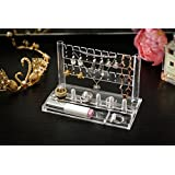 """Acrylic Jewelry Rack with Bottom Tray and Ring Holder Choice Fun 7.0""""L x 3.7""""W x 4.5""""H"""