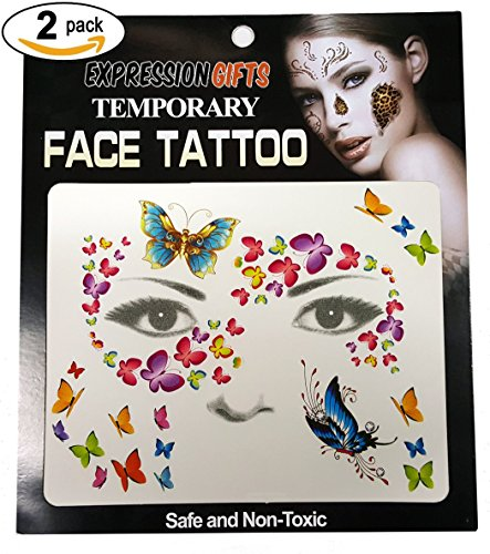 Butterfly Costume Accessories (Butterfly Swirls - 2 Pack Face Tattoos)