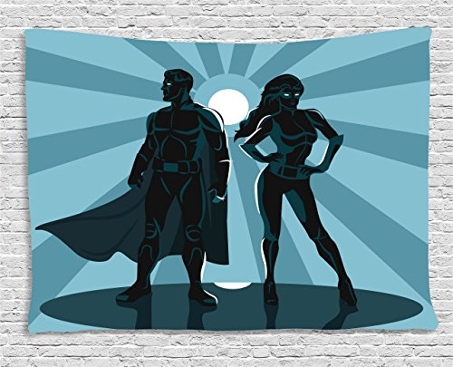 Superhero Couples Costumes List (Superhero Tapestry Wall Hanging by Ambesonne, Man and Woman Superheroes Costume with Masks and Capes Night Protector in Moonlight, Bedroom Living Room Dorm Decor, 80 W X 60 L Inches, Blue Teal)