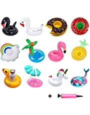 Inflatable Drink Holder, 12 Pack Inflatable Floating Drink Cup Floaties with Free Air Pump for Summer Swimming Pool Party Fun Kids Bath Toys Shower