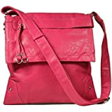 Stitched Flap Cross-body Handbag (Coral)