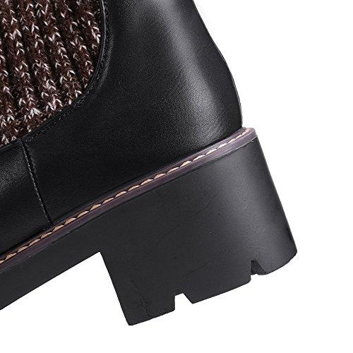Allhqfashion Women's Solid PU Kitten-Heels Pull-on Round Closed Toe Boots Black 20lMNJSv