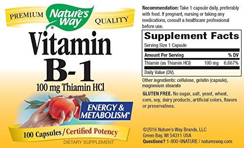 Nature's Way Vitamin B-1 100 Mg - 100 Capsules ( 8-Pack)