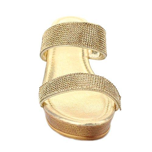 Aarz señoras de las mujeres de la tarde ocasional Resbalón-en el tacón de cuña de la sandalia de los zapatos de Diamante Tamaño (Negro, Oro, Plata, Champagne) Oro