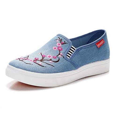 Zapatillas de Lona Mujer Espadrilles Creepers Mocasines Resbalón en Tela Bordado Ocasional de Tela Zapatos de Plataforma Plana para Mujer: Amazon.es: ...