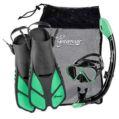 Seavenger Aviator Snorkeling Set | Travel Trek Fins, Dive Mask, Dry Top Snorkel and Gear Bag | Kids and Adults (Gray/Black Silicone/Peppermint, L/XL)