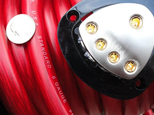 Red 0 AWG Gauge 10 Feet Foot Spool of Red Power Ground Wire with Power Distribution (Breaker Output 16)