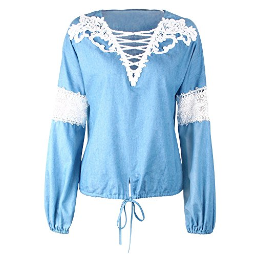 BYEEE  Shop Women's Clearance Sale, Openwork Criss-Cross V Neck Shirt Lace Lantern Sleeve Tie Knot Front Blouse Tops for Lady by BYEEE (Image #5)