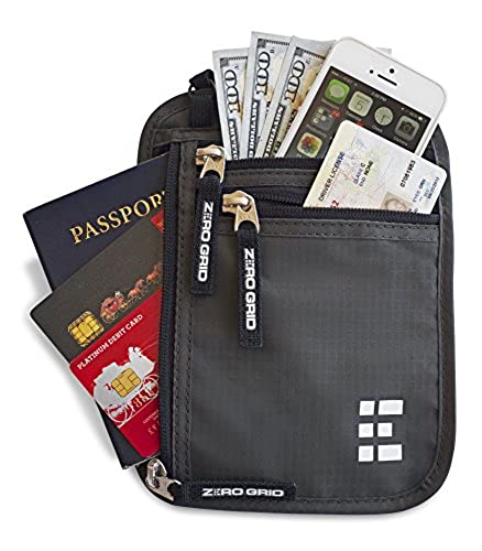09. Zero Grid Neck Wallet w/RFID Blocking- Concealed Travel Pouch & Passport Holder