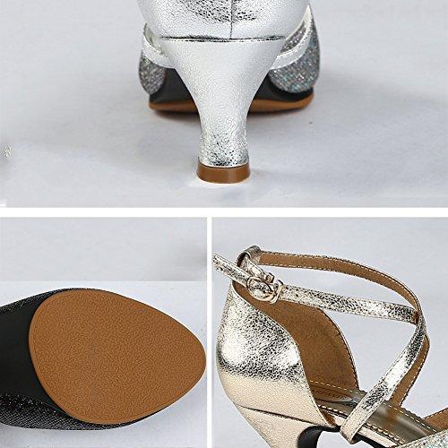 Frühling 250mm Stiefeletten PENGFEI Mittlerer Tanzschuhe Damen Atmungsaktiv Schuhe Boden Farben L 3 Schlüpfen EU40 5 UK6 Stil Lateinische Absatz größe Neuer Silber Farbe Weicher x0nrgnwIq