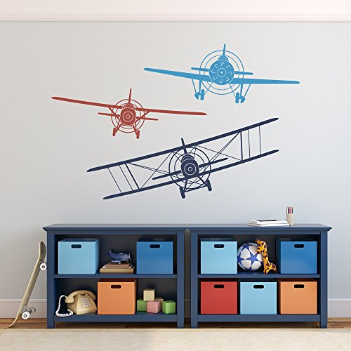 3 Airplanes Wall Decals Nursery Boy Biplane Monoplane Wall Decal Boys Kids Room Playroom Wall Vinyl Decal (Large, navy blue+dark red+medium blue)