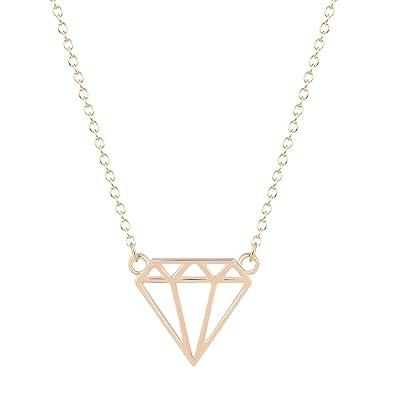 Amazon hollow geometric diamond shaped flat triangle shaped hollow geometric diamond shaped flat triangle shaped pendant long jewelry necklace for women gold aloadofball Images