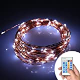 Xking 33ft / 10m 100 Leds Copper Wire String Lights / Christmas, Wedding and Party Decorative Lights / Controllable:flash , Strobe , Fade (Cool White)
