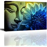 "PIY 1 Piece Buddha Wall Art with Frame, Flower Picture Canvas Prints for Study or Office, Zen Wall Décor Paintings, Waterproof, 1"" Thick, Blue"