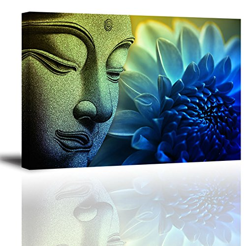 Piece Buddha Wall Art with Frame, Flower Picture Canvas Prints for