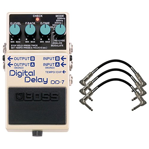 BOSS DD-7 Digital Delay Compact Pedal w/ 3 Patch Cables