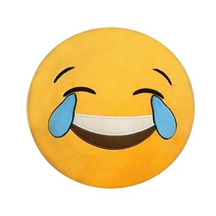 TuEmoticono Coussin Rond Peluche en Forme D/émotic/ône Smiley-Broderie
