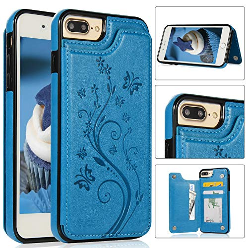 iPhone 7/8 Plus Wallet Case with Card Holder, Akimoom Butterfly Embossed Double Magnetic Clasp Leather Kickstand Card Slots Protective Skin Case Cover for Apple iPhone 7/8 Plus 5.5 Inch(Blue)