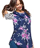 CEASIKERY Womens Blouse 3/4 Sleeve Floral Print T-Shirt Comfy Casual Tops For Women Floral 004 (US 4-6) Small