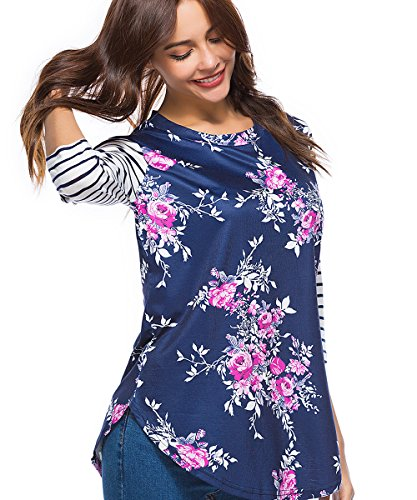 CEASIKERY Women's Blouse 3/4 Sleeve Floral Print T-Shirt Comfy Casual Tops For Women,Floral 004,(US 12-14) Large