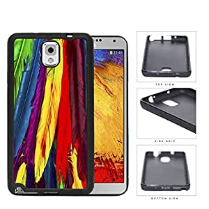 Bright Colorful Rainbow Feathers Pattern Hard Rubber TPU Phone Case Cover Samsung Galaxy Note 3 N9000