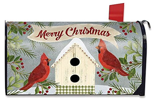 Briarwood Lane Christmas Cardinal Birdhouse Magnetic Mailbox Cover Primitive Birds Standard